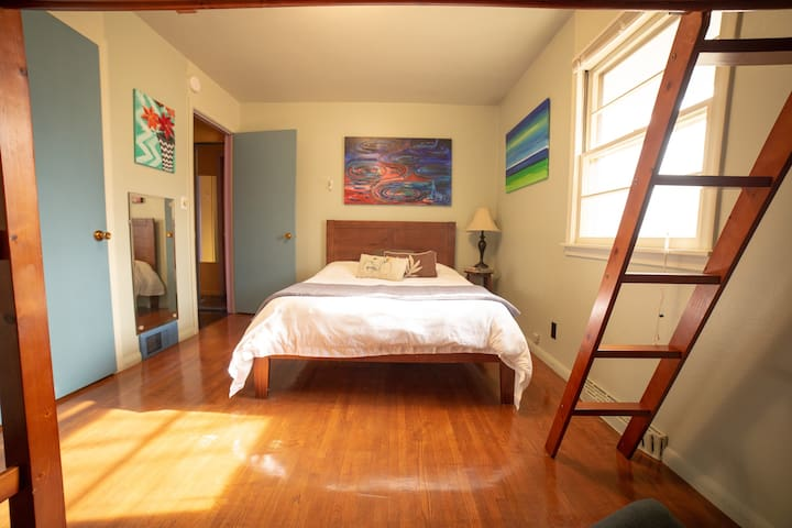 Full Size Bed with Loft Twin Bed.