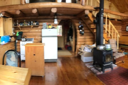 It's a Pano view of the lodge entrance. A place of sustainable peace and tranquility off the grid in an old growth forest on your own island in wilderness Newfoundland, Canada!