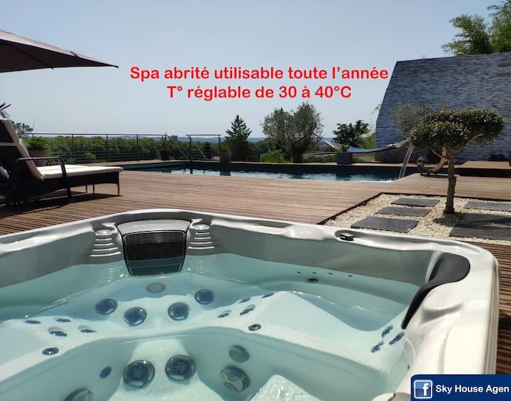 SKY HOUSE Logement neuf avec spa hammam et piscine
