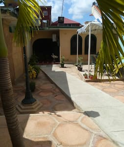 Camino a la entrada de los huéspedes que mide 100 cm,no es plano tiene pendiente y barreras arquitectónicas.