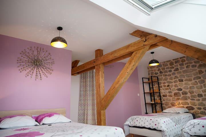 Chambre Cocoon avec un lit double et 2 lits simples. Salle de bain et wc privatif.