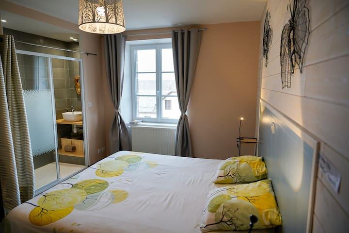 Chambre Nature avec salle bain et wc privatif. Lit king size ou 2 lits simples à la demande.