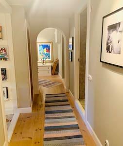 Hallway between kitchen, bathroom and the two bedrooms on the bottom floor.