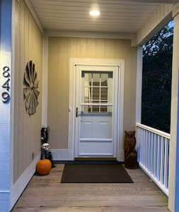 This is the well lit entry door to the Guesthouse.  The front and left sides of the Guesthouse are illuminated at night for ease of navigation to the entrance from the designated guest parking area.