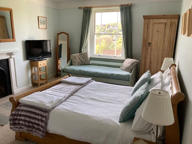 Spacious bedroom 2 with beautiful views across Uplyme