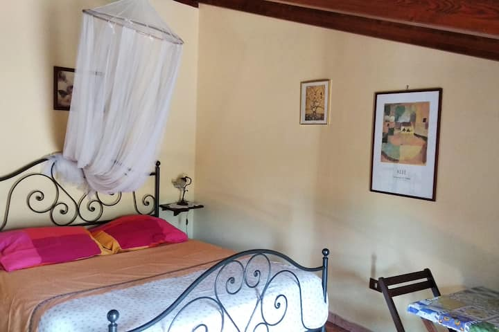Romantic attic room with balcony