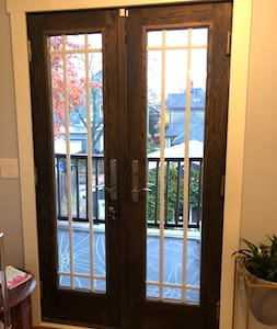 We have a double door entrance on the 2nd fl. if needed. And, a shared home w/ separate own guest bedroom that could be utilized for those not able to climb the last flight of stairs to the 3rd fl. private Airbnb 1-BR apt.