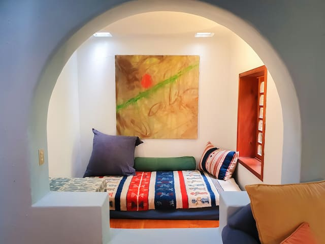 Alcove facing the living room with one extra bed