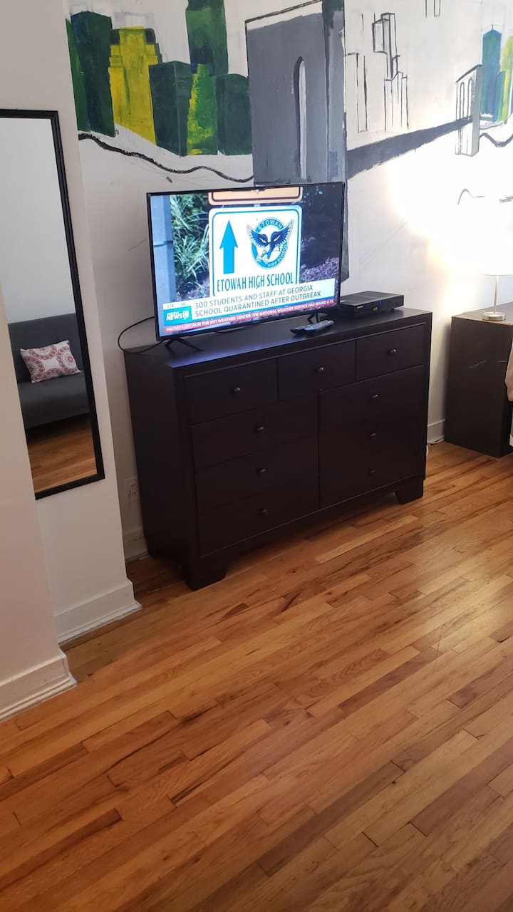 Safe, sunny Hudson Yards, couch/2nd bed, Free WiFi