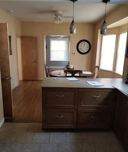 """I didn't take photo of the actual door but it can be seen under the patio photo below. This is just inside that door into the kitchen, 2 bedrooms & 1 bath is on main floor for handicapped access but bedroom doors not 36""""  but travel wheelchairs fit"""