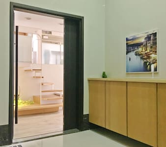 Apartment door, wide and bright