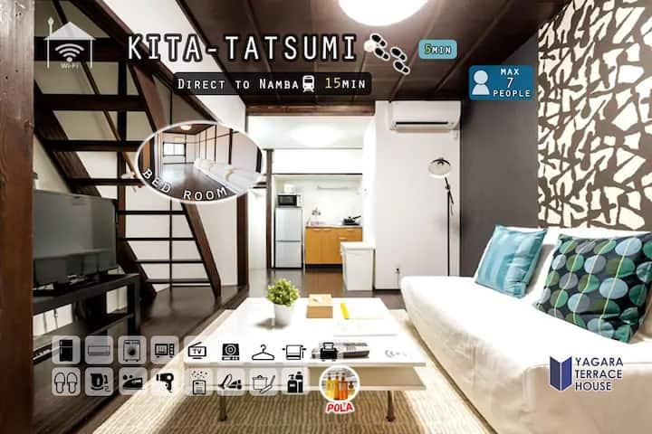 Kitatatsumi sta 5min/Direct to Namba /Free WIFI★A