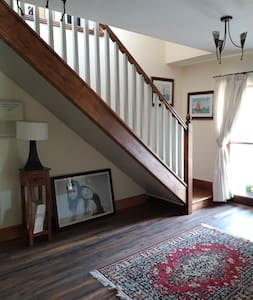 There is a staircase to this room, however there is another room available down stairs.