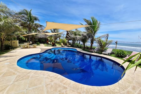 Beachfront House with Pool