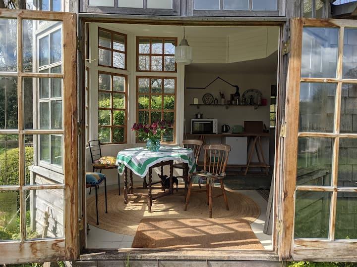 Studio and Shepherds hut in a beautiful garden