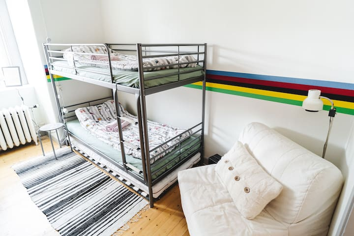 """Beds in the """"cycling room""""."""