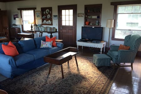 Living room doors are wide for wheel chairs. We rent ramps for front door and deck access.