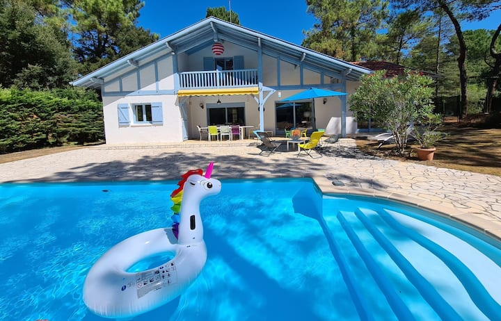 Hossegor l'été Indien, villa piscine à 1 km du lac