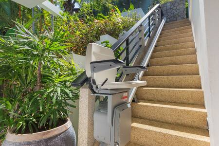 This Stannah chairlift was permanently installed  by the owner, a wheelchair user, to allow her easy access in and out of the villa.