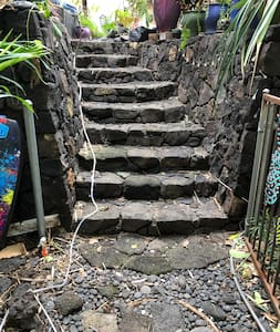 Steps from parking area to lower path to cottage
