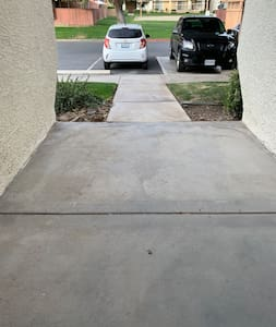 Path is well lite and short distant from car to door