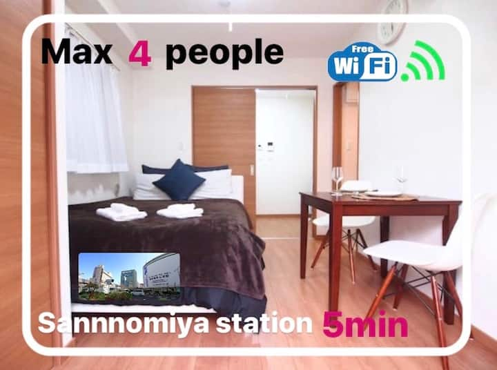 5mins walk from Kobe Sannomiya★Recently built 1R