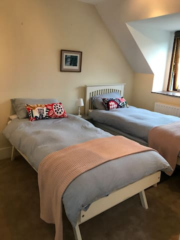 Newly decorated twin room. Beds can be pushed together to create a kingsize double