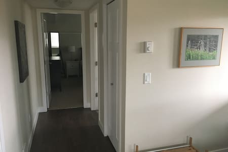 The hallway is 43 inches wide. The doorway to the washroom is 29 inches wide and the bedroom door width is 31 inches. The rest is open area. Are the spaces are on one flat level.