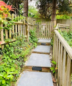 Well lit path and steps to the annexe.