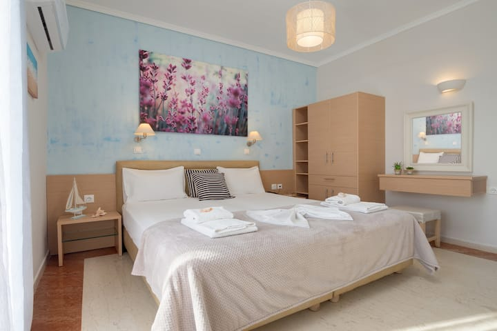 Pyrgos beach hotel, studio with side sea view