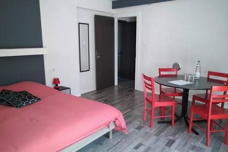 Chambre 1 avec lit + espace repas et/ou travail.