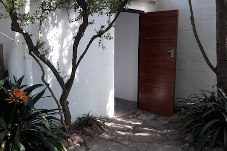 There are two small steps to enter through the front door. Guests with limited mobility can enter the back yard through the garage. The door frame is standard width. Please check the photo to see if this is suitable.
