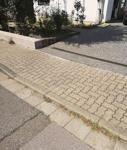 Über den abgesenkten Bordstein am Garten entlang ist der offizielle ei Gang in die Praxis und das Haus.