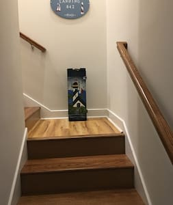 Stairs to upstairs are well lit.