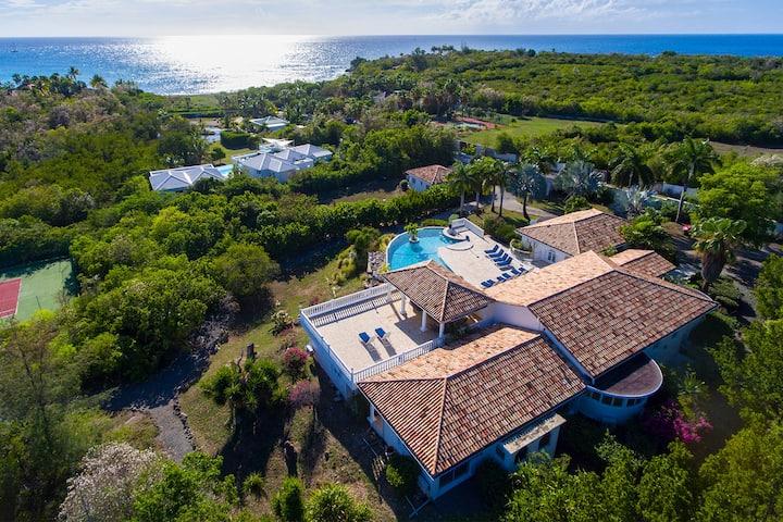 Large villa with cascading pool near Plum Baie