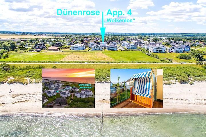 Dünenrose 4, grosser Balkon, Blick zur Ostsee, 3 Z