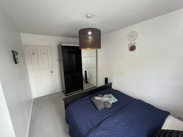 Bedroom with Room: Fan Linen Heater Fire Lamp (Control switch on the lamp) Roof light star lights Double bed Wardrobe