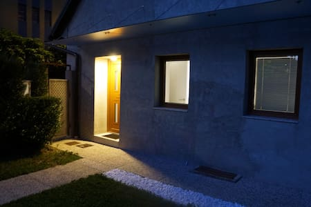 Pathway to the entrance is lit by sensor-triggered light. Entrance has 18 cm doorstep.