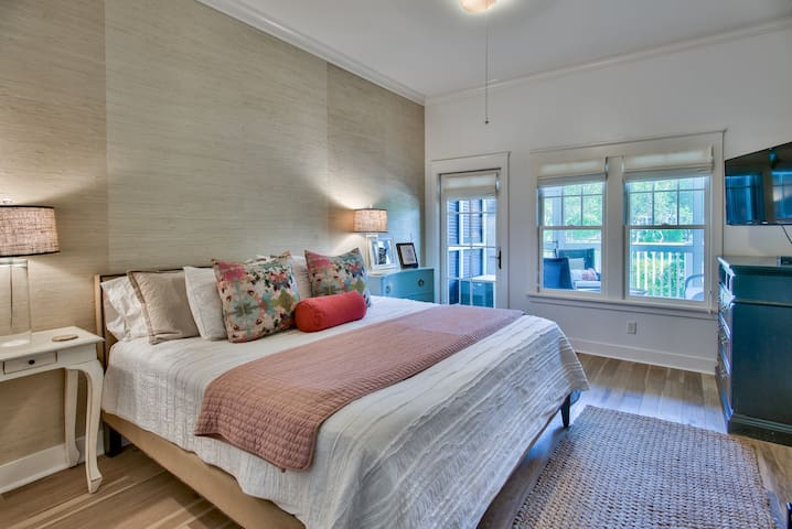 Master bedroom with screened in porch