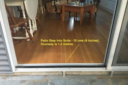 Patio Step into Suite - 15 cms (6 inches). Doorway is 1.2 metres as shown.