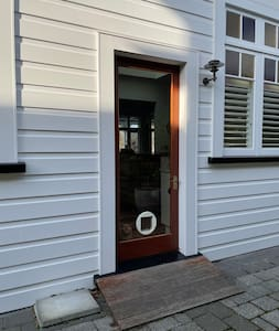 We have a ramp for wheelchair access into our home via the back door. Access from our private off street parking to this door is wide and flat.