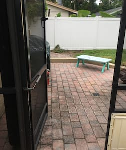 Walk way from pool to grill & Fire pit area