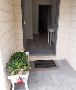 900mm wide doorways. Half brick at entry.