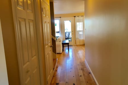 The hall entrance from the front door into the living room and kitchen areas.