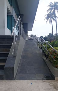 Building entrance ramp.