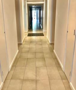 Well lit Access corridor with light sensors