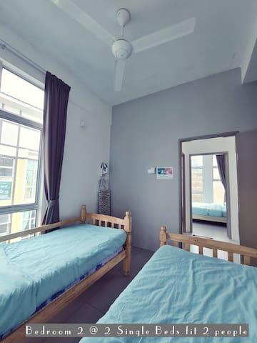 ♡ Bedroom 2 # 2 Single beds sleep TWO people  # shared bathroom