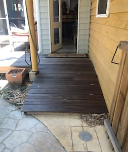 Here is the ramp up to the door. There is one small step at the bottom that we can add little ramp to if needed