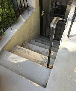 These steps lead into the apartment, a light is activated by motion when you are on the step.