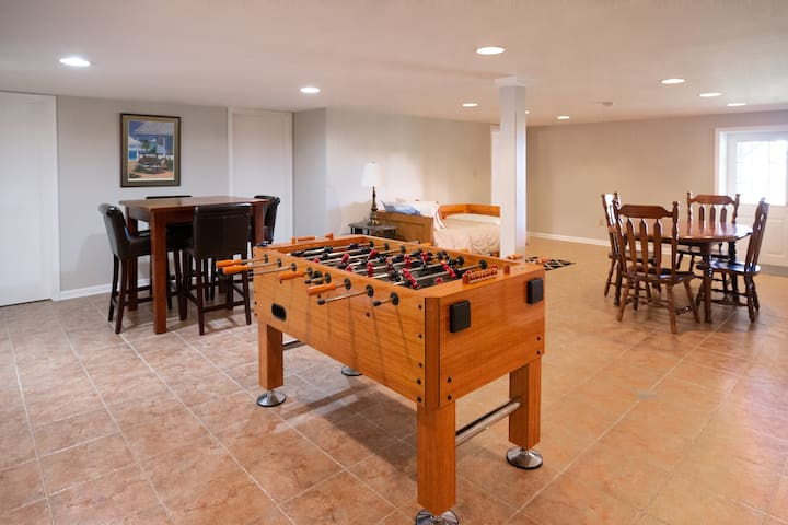 Media/Game room has twin trundle beds in the common area and a shared full bathroom with walk in shower.